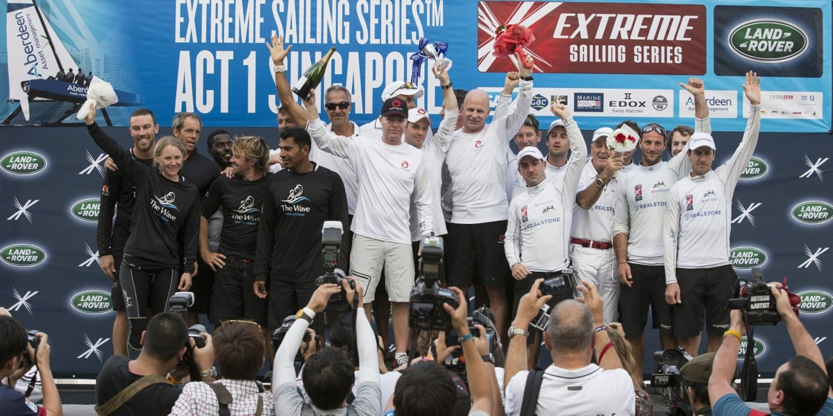Superb third place for Realteam at Extreme Sailing Series Act 1 in Singapore