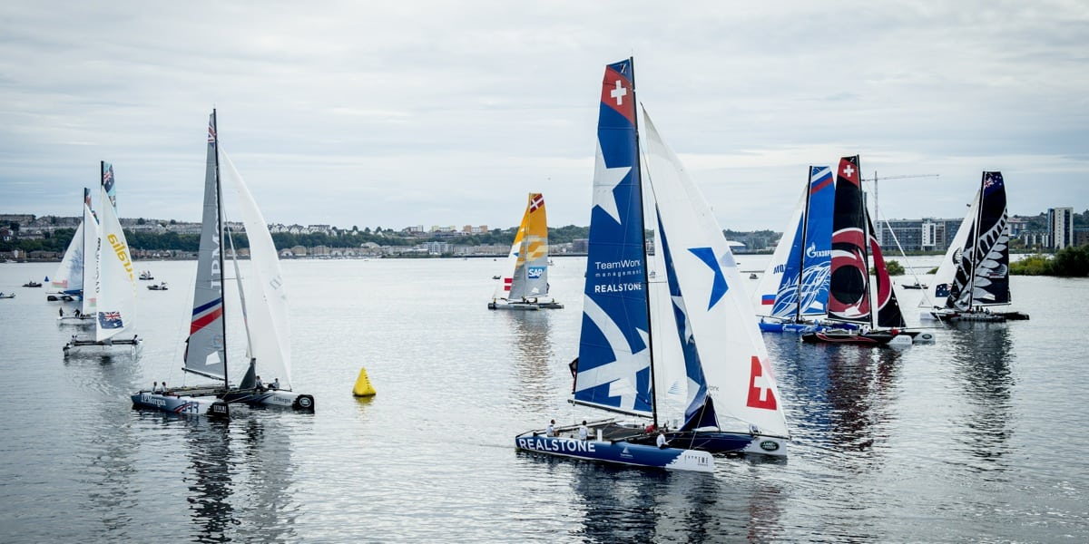 Fifth place for Realteam went to the wire at Act 5 of the Extreme Sailing Series in Cardiff
